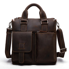 Load image into Gallery viewer, Male Genuine Crazy Horse Leather Handbags Retro Hand Bags Cowhide Mens Leather Shoulder Bag Crossbody Bags for Men