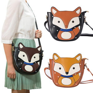 Cute Cartoon Fox Shoulder Bag Zipper Women Faux Leather Crossbody Bag Satchel