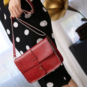 Retro Women Faux Leather Button Satchel Handbag Crossbody Shoulder Messenger Bag