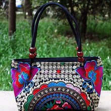 Load image into Gallery viewer, Double-Sided Canvas Flower Print Embroidery Ethnic Style Retro Handbag Small Bag