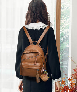 Travel Backpack Women Female Rucksack Leisure Student School bag Soft PU Leather AS-004