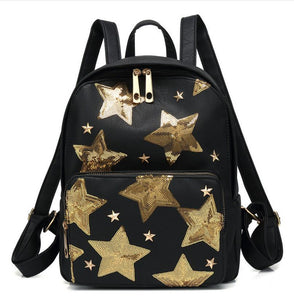 2018 new ladies shoulder bag embroidered five-pointed star PU shoulder bag travel sports outdoor backpack Mochila