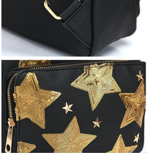 Load image into Gallery viewer, 2018 new ladies shoulder bag embroidered five-pointed star PU shoulder bag travel sports outdoor backpack Mochila