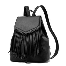 Load image into Gallery viewer, New Women Tassel Leather Backpacks School Bags For Teenagers Girls Travel Female Backbag Mochila Drawstring Rucksack