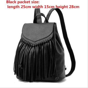 New Women Tassel Leather Backpacks School Bags For Teenagers Girls Travel Female Backbag Mochila Drawstring Rucksack
