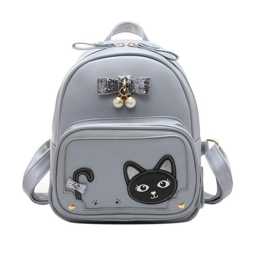 2018 spring and summer new PU leather girls popular backpack Mochila Feminina kitten cartoon can pass simple backpack