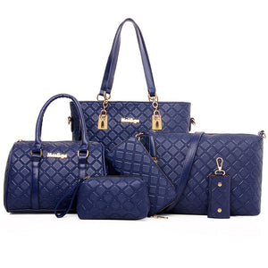 Women's Rivet Special Material Bag Set / Zipper Bag Sets Solid Colored Black / Coffee / Blue