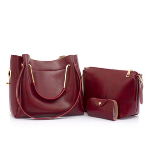 Women's PU Bag Set Bag Sets 3 Pcs Purse Set Black / Wine / Brown