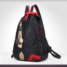 Load image into Gallery viewer, PU School Bag Travel Bag Commuter Backpack Solid Colored Shopping Black
