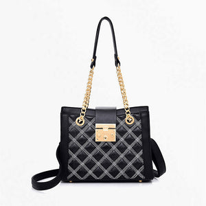 Women's Cowhide Crossbody Bag Solid Color Black / Fall & Winter