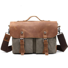 Load image into Gallery viewer, Men's Zipper Canvas Satchel Canvas Bag Coffee / Army Green