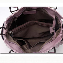 Load image into Gallery viewer, Women's Zipper Cowhide Shoulder Messenger Bag Purple / Dark Grey / Wine