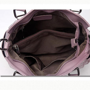 Women's Zipper Cowhide Shoulder Messenger Bag Purple / Dark Grey / Wine