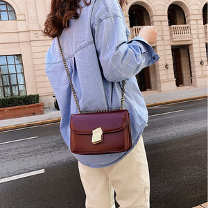 Women's Buttons PU Crossbody Bag Solid Color Black / Dark Brown / Wine / Fall & Winter