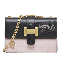 Load image into Gallery viewer, Women's Buttons Cowhide Crossbody Bag Color Block White / Blushing Pink / Fall & Winter