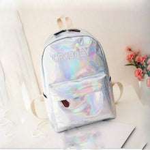 Load image into Gallery viewer, PU Zipper School Bag School Black / Silver / Blushing Pink