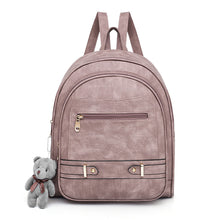 Load image into Gallery viewer, PU Zipper School Bag Solid Color Daily Black / Blushing Pink / Gray / Fall & Winter
