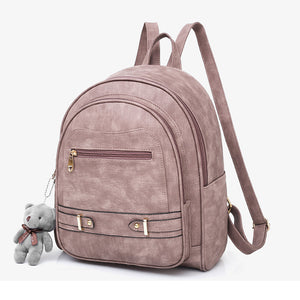 PU Zipper School Bag Solid Color Daily Black / Blushing Pink / Gray / Fall & Winter