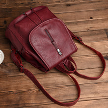 Load image into Gallery viewer, Faux Leather Zipper Commuter Backpack Daily Black / Yellow / Wine