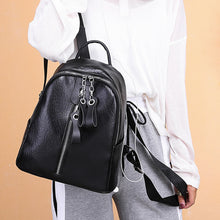 Load image into Gallery viewer, PU Leather Zipper School Bag Solid Color Daily Brown / Black / Girls'
