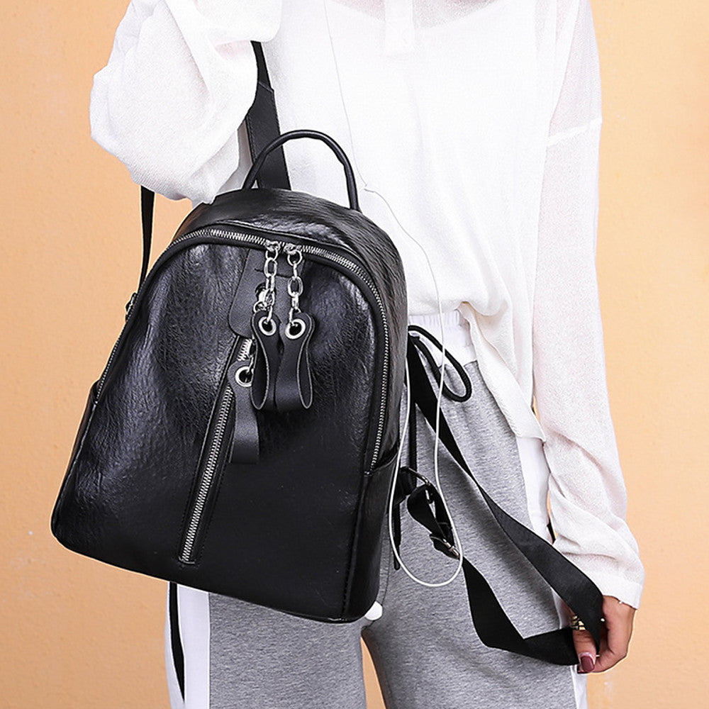 PU Leather Zipper School Bag Solid Color Daily Brown / Black / Girls'