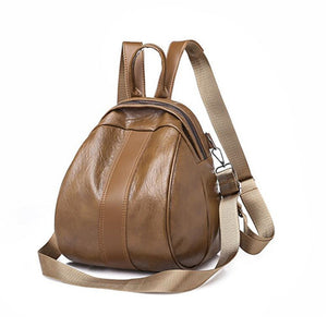 Casual PU Zipper Commuter Backpack Solid Color Daily Brown / Black