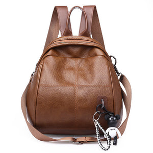 PU Leather Zipper Commuter Backpack Solid Color Sports & Outdoor Brown / Black / Fall & Winter