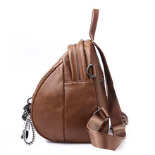 Load image into Gallery viewer, PU Leather Zipper Commuter Backpack Solid Color Sports & Outdoor Brown / Black / Fall & Winter
