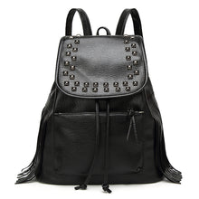 Load image into Gallery viewer, Adjustable PU Rivet Commuter Backpack Solid Color Daily Black / Fall & Winter