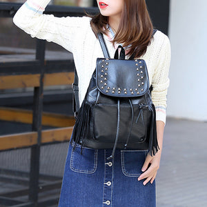 Adjustable PU Rivet Commuter Backpack Solid Color Daily Black / Fall & Winter