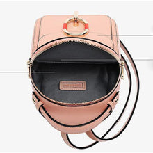 Load image into Gallery viewer, Cowhide Zipper Commuter Backpack Daily Black / Blushing Pink