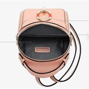 Cowhide Zipper Commuter Backpack Daily Black / Blushing Pink