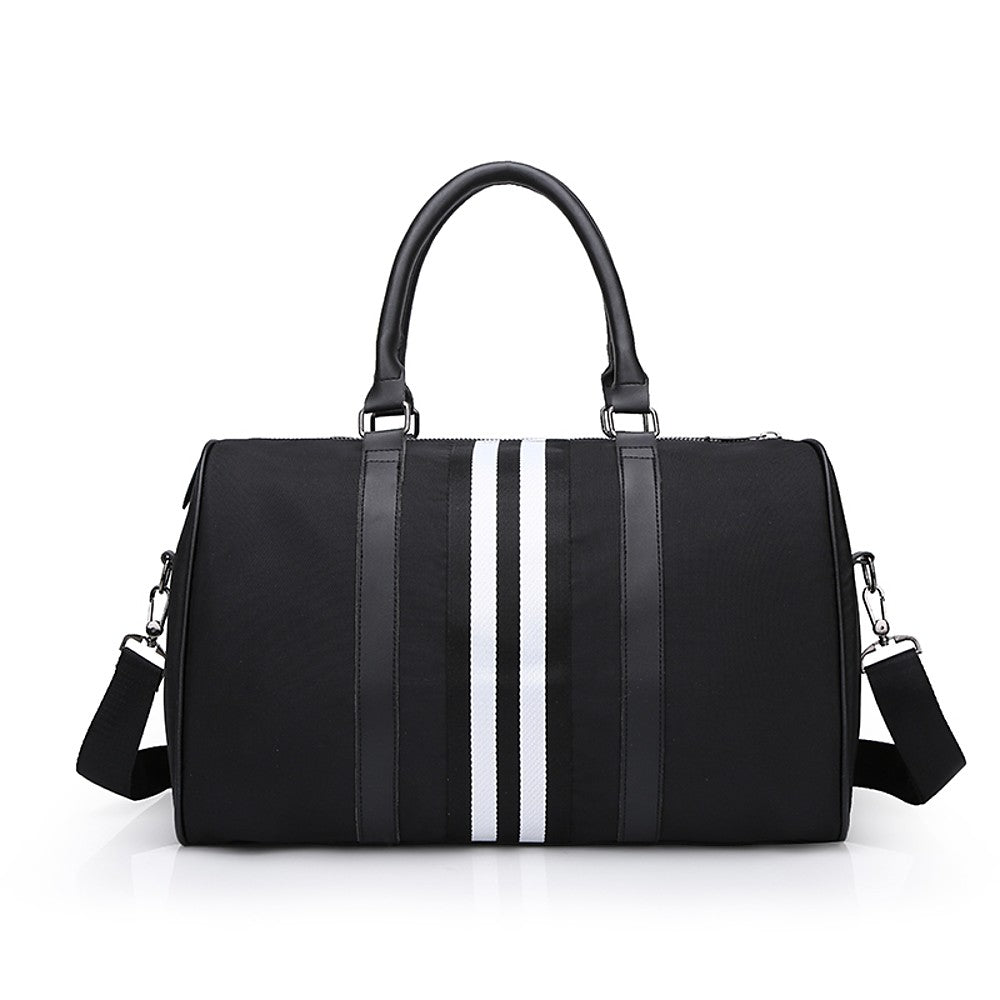 Oxford Cloth Striped Travel Bag Zipper Striped Black / Unisex / Fall & Winter