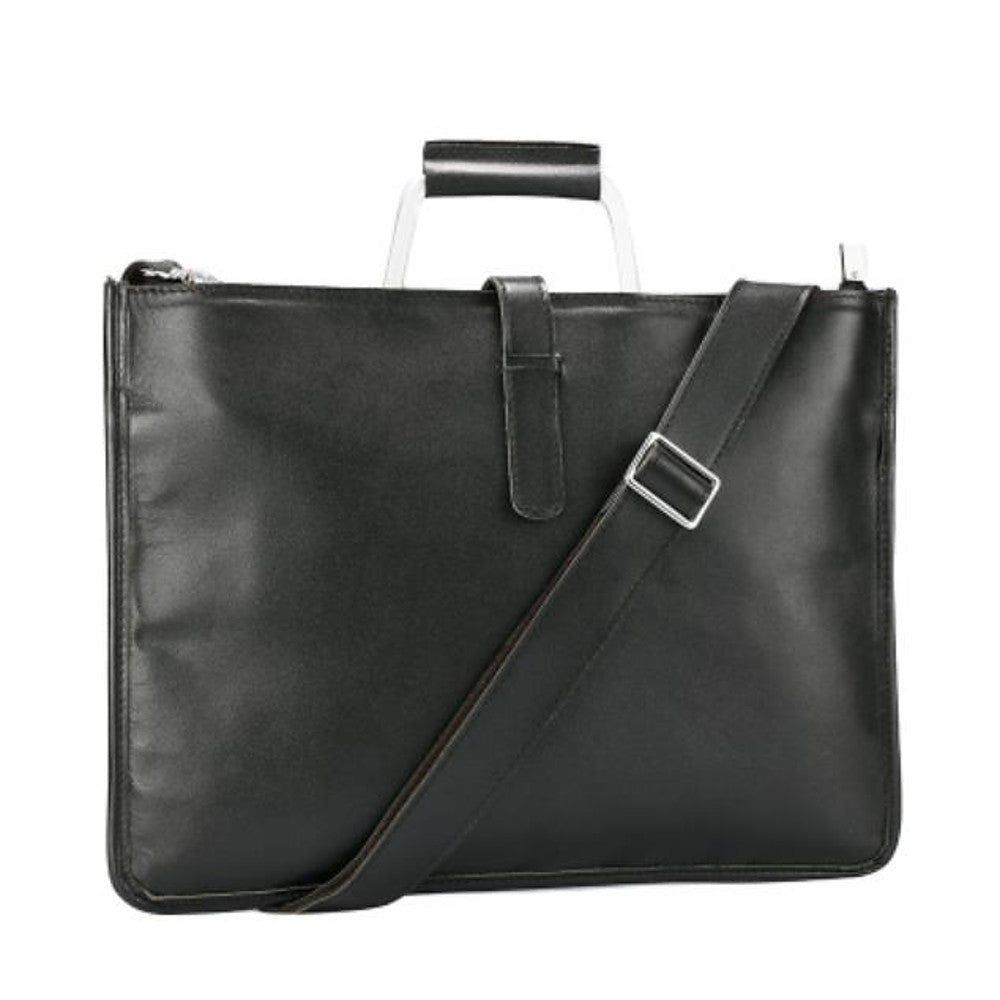 Men's Zipper Briefcase Cowhide Solid Color Black / Brown / Dark Brown