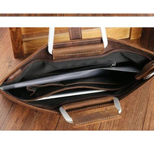 Load image into Gallery viewer, Men's Zipper Briefcase Cowhide Solid Color Black / Brown / Dark Brown