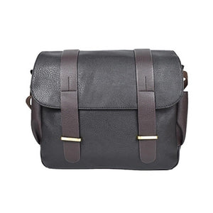 Men's Shoulder Messenger Bag PU(Polyurethane) Solid Color Black