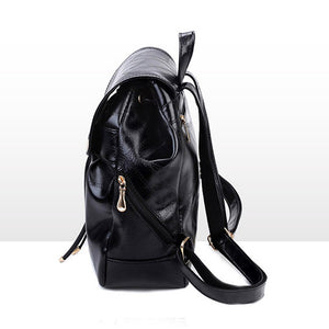Women's Zipper Commuter Backpack Backpack PU(Polyurethane) Solid Color Black / Fall & Winter