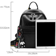 Load image into Gallery viewer, PU Zipper School Bag School Black