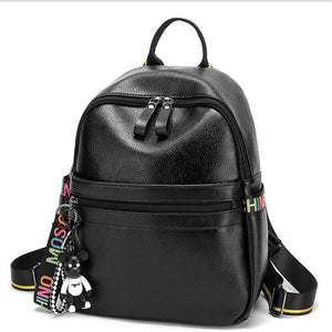 PU Zipper School Bag School Black