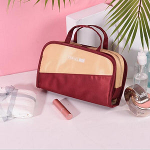 Waterproof Polyester Zipper Cosmetic Bag Daily Red / Gray / Sky Blue