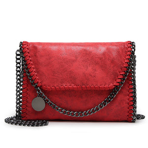 Women's Zipper / Chain PU(Polyurethane) / PU Crossbody Bag Solid Color Black / Blue / Red / Fall & Winter