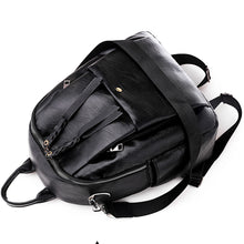 Load image into Gallery viewer, PU Zipper Commuter Backpack Solid Color Daily Black / Gray / Fall & Winter