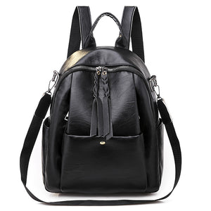 PU Zipper Commuter Backpack Solid Color Daily Black / Gray / Fall & Winter