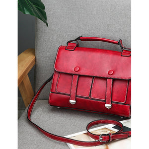 Women's Buttons / Zipper PU Satchel Solid Color Black / Brown / Red / Fall & Winter