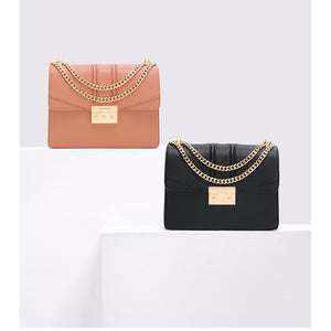 Women's Chain PU(Polyurethane) / Synthetic / PU Crossbody Bag Solid Color Black / Orange / Red / Fall & Winter