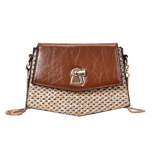 Women's Zipper Straw / PU(Polyurethane) / PU Crossbody Bag Straw Bag Solid Color Black / Brown / White / Fall & Winter
