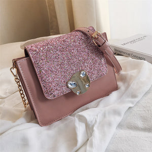 Women's Buttons / Glitter PU(Polyurethane) / PU Crossbody Bag Solid Color Black / White / Blushing Pink / Fall & Winter