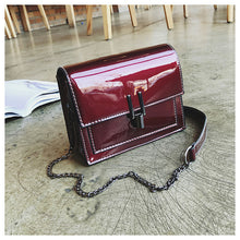 Load image into Gallery viewer, Women's Solid Patent Leather Shoulder Messenger Bag Geometric Black / Silver / Wine