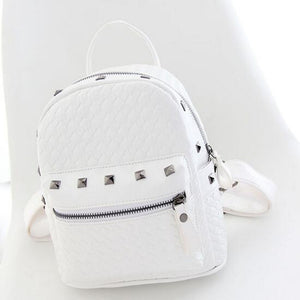 PU Rivet Commuter Backpack Daily White / Blushing Pink / Silver
