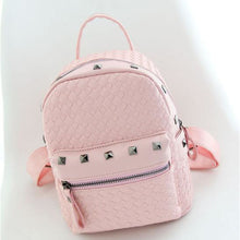 Load image into Gallery viewer, PU Rivet Commuter Backpack Daily White / Blushing Pink / Silver